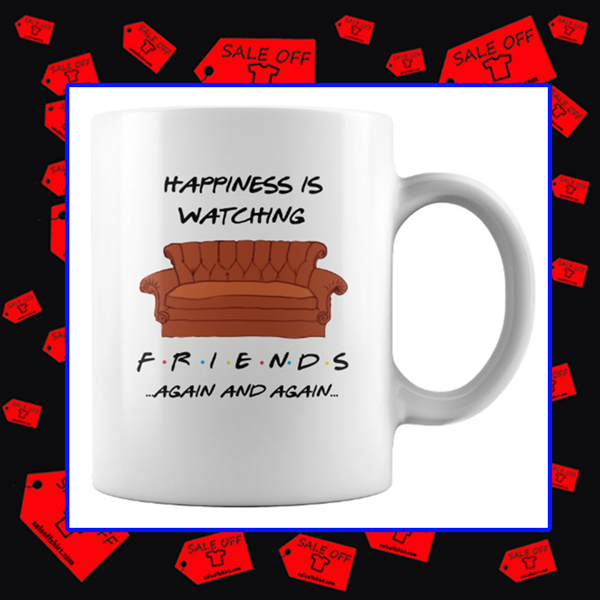 Happiness is Watching Friends Again and Again Mug - white