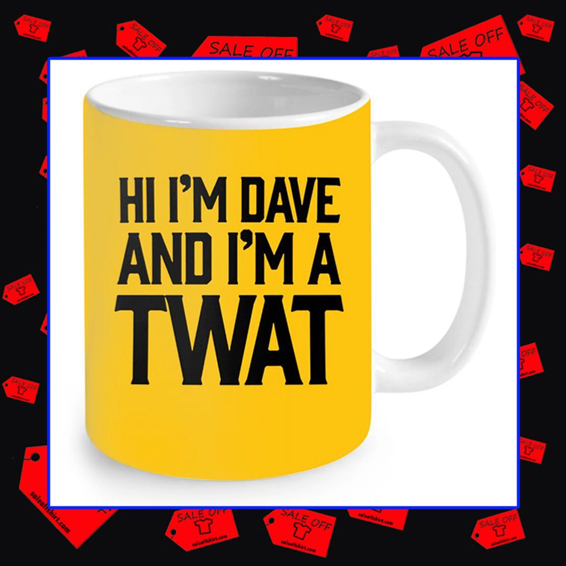 Hi I'm Dave and I'm A Twat Neon Yellow Mug - athletic gold