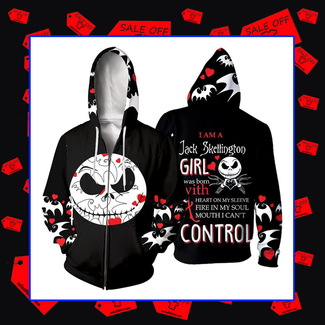 I am a Jack Skellington Girl Zip Hoodie 3d