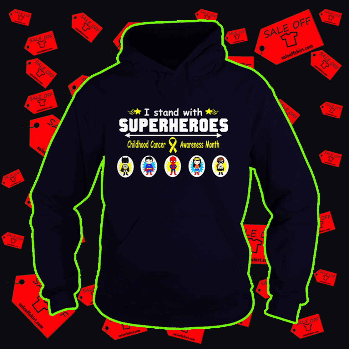 I stand with superheroes childhood cancer awareness month hoodie
