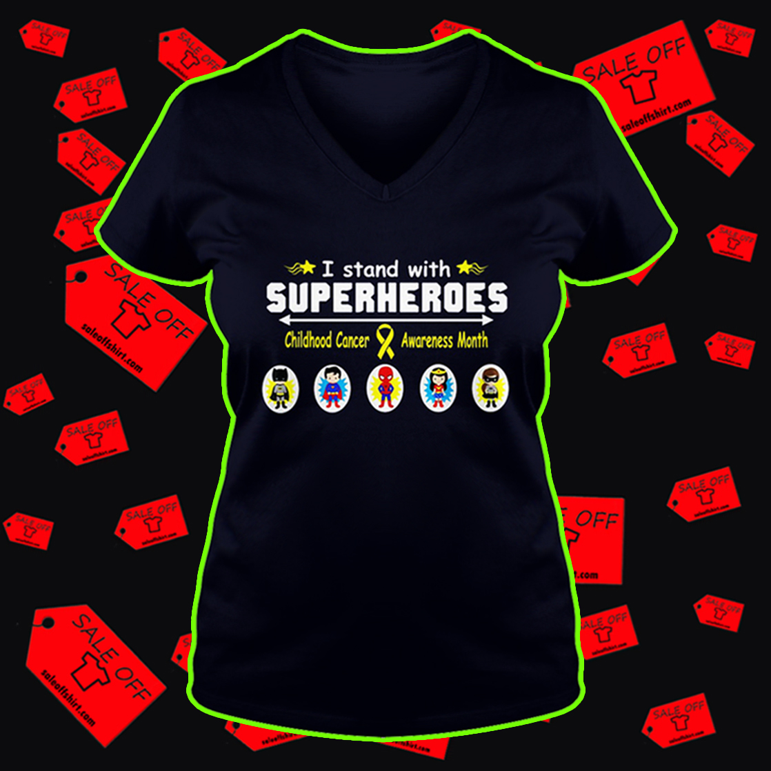 I stand with superheroes childhood cancer awareness month v-neck