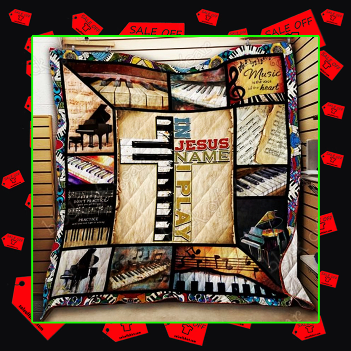 In Jesus Name I Play Piano Quilt - picture 2