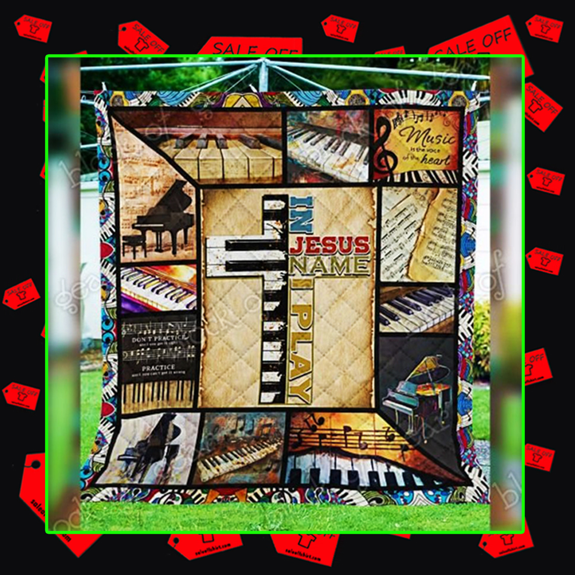 In Jesus Name I Play Piano Quilt - picture 3