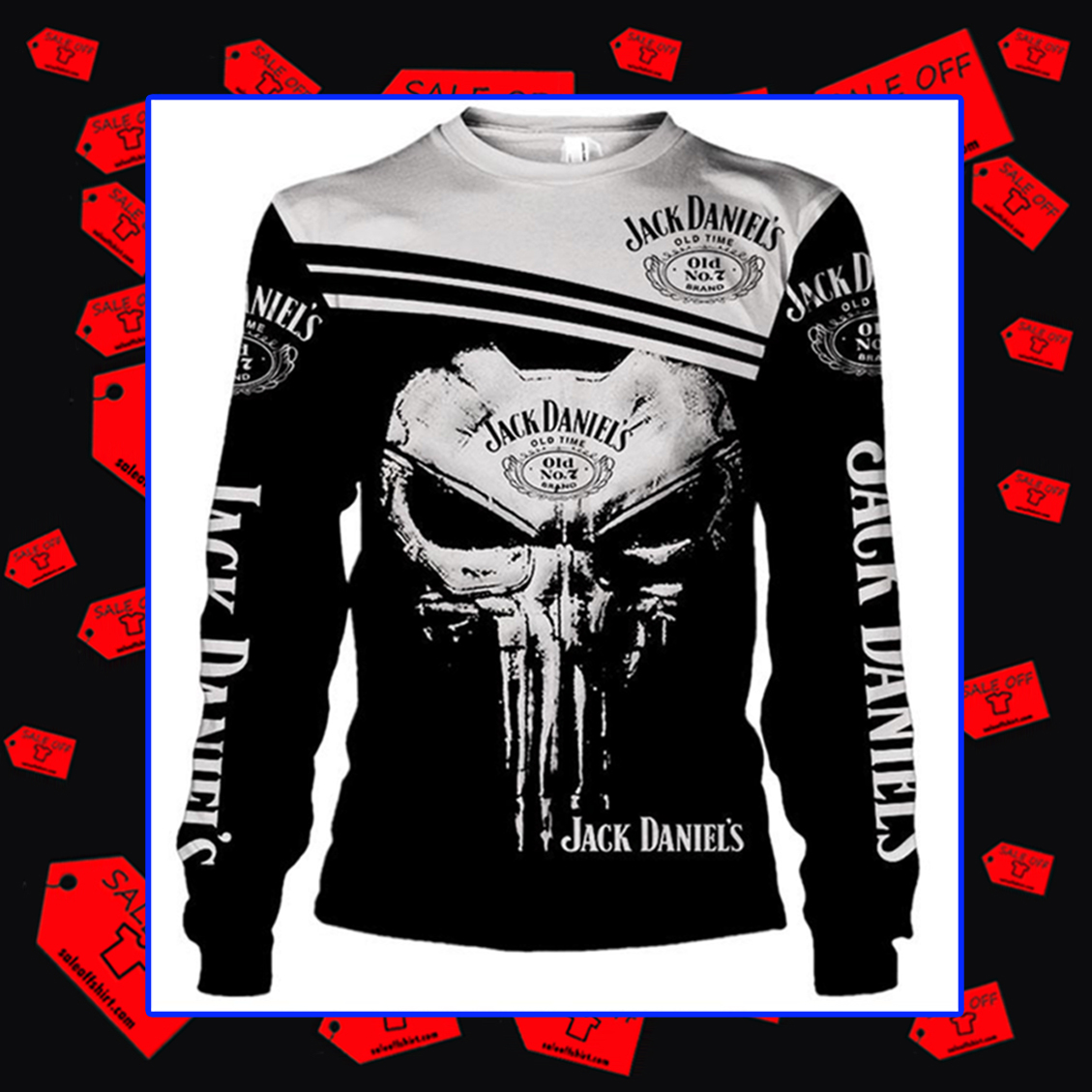 Jack Daniel's Punisher Skull Long sleeved shirt 3d