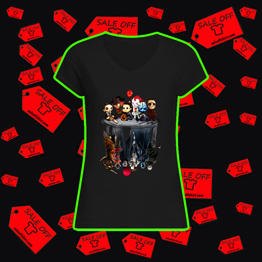 Leatherface Freddy Krueger Michael Myers Pennywise Pinhead Jason Voorhees reflection v-neck
