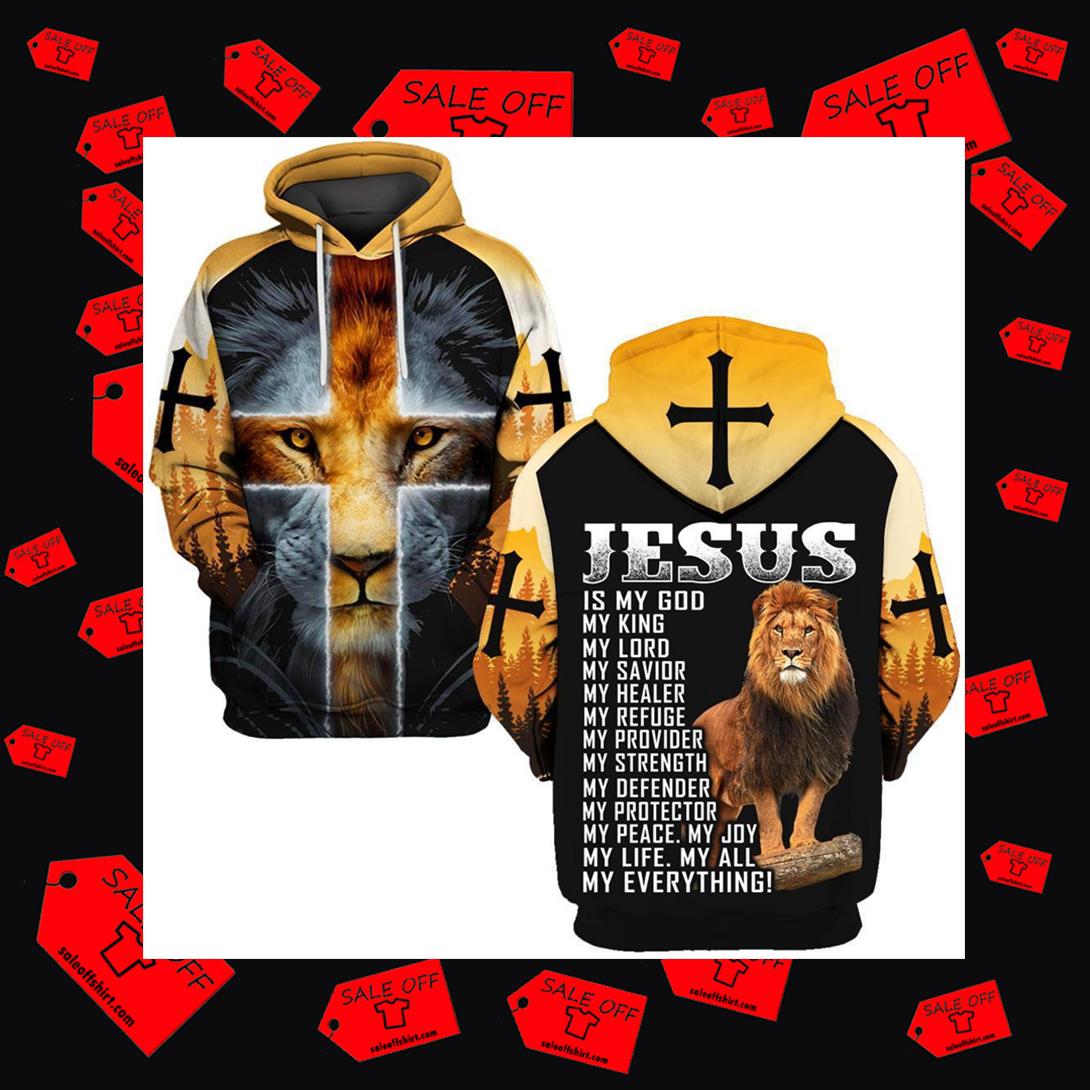 Lion Jesus is My God My King hoodie 3D