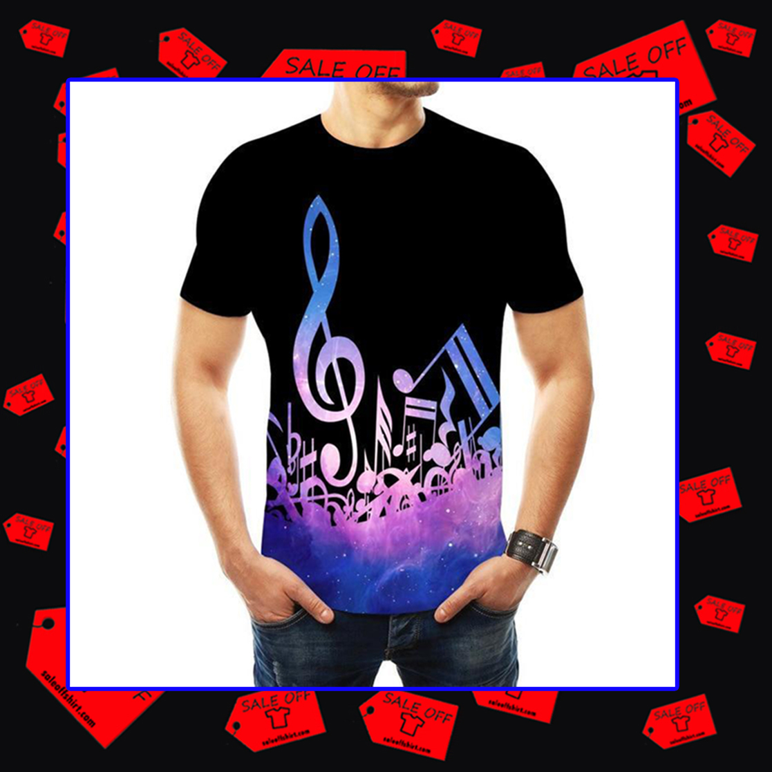 Music Notes T-shirt 3D - blue
