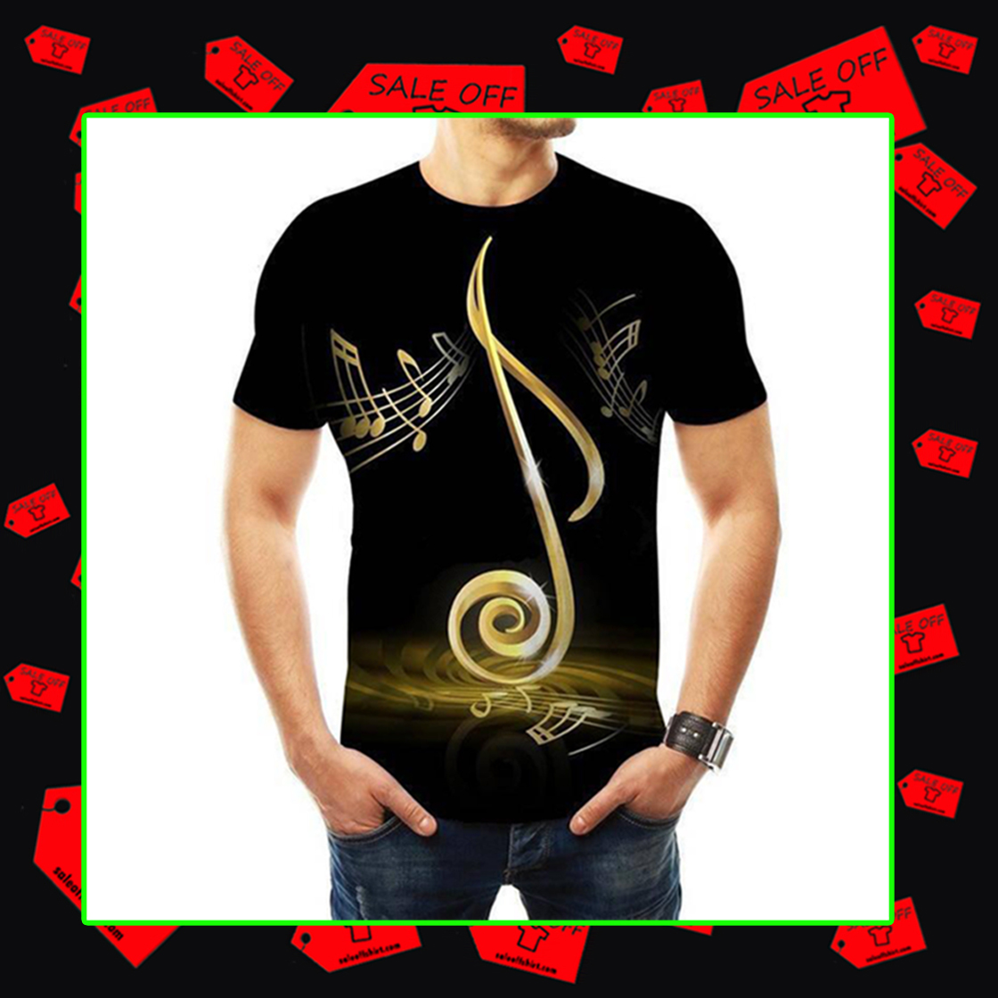 Music Notes T-shirt 3D - yeallow