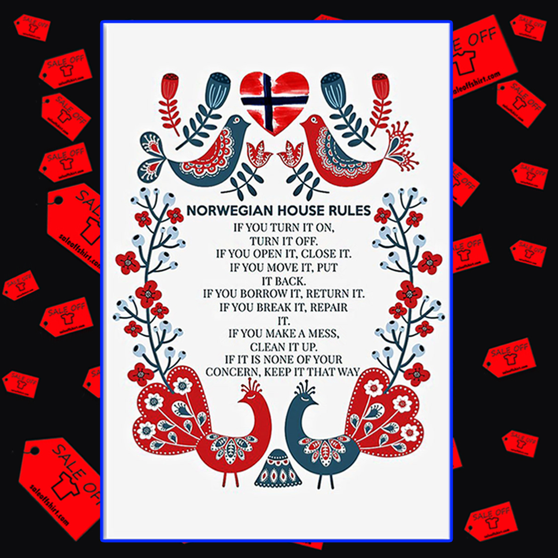 Norwegian house rules if you turn it on poster 16x24