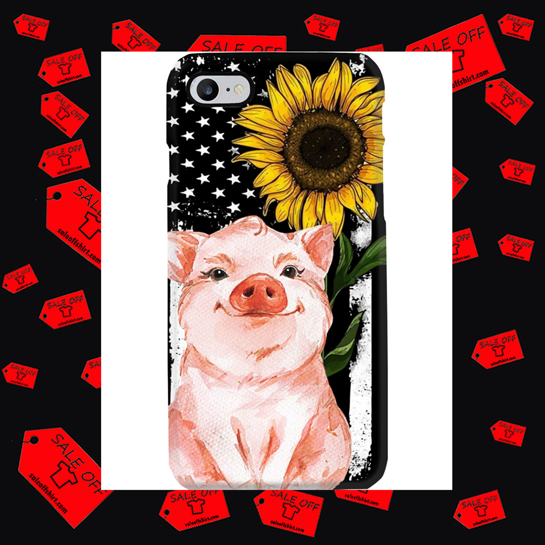 Pig American Flag Sunflower Phone Case