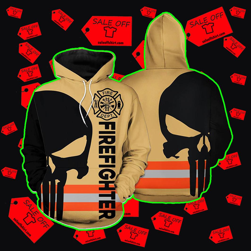 Punisher Skull Firefighter Hoodie 3d - skull orange line