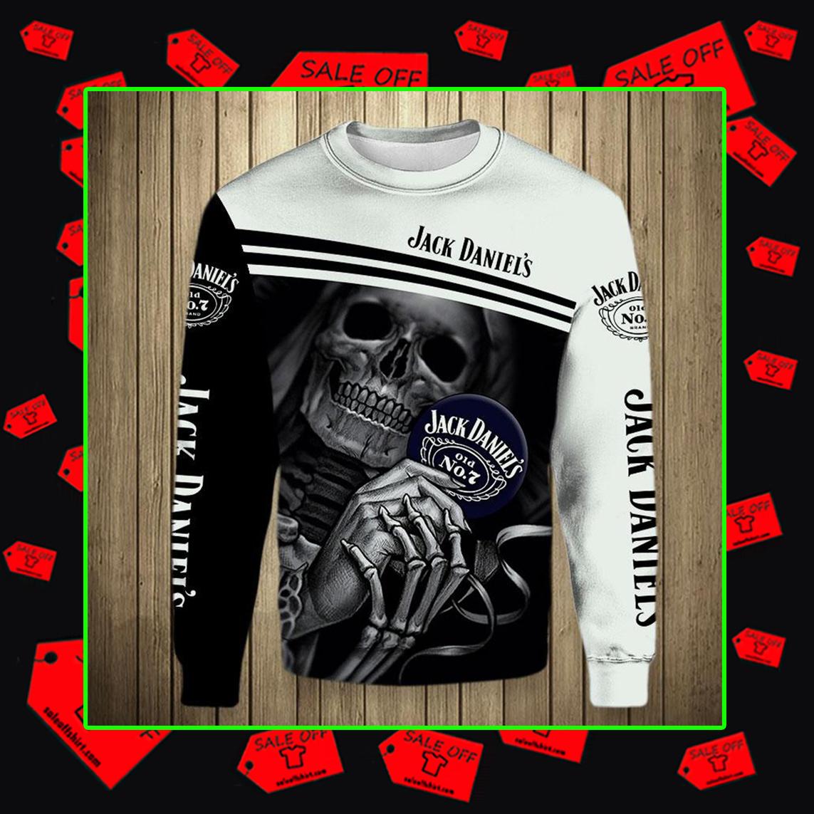 Skull Skeleton Jack Daniel's Hoodie 3D, T-shirt 3D, Zip Hoodie 3D - Long sleeved shirt 3D