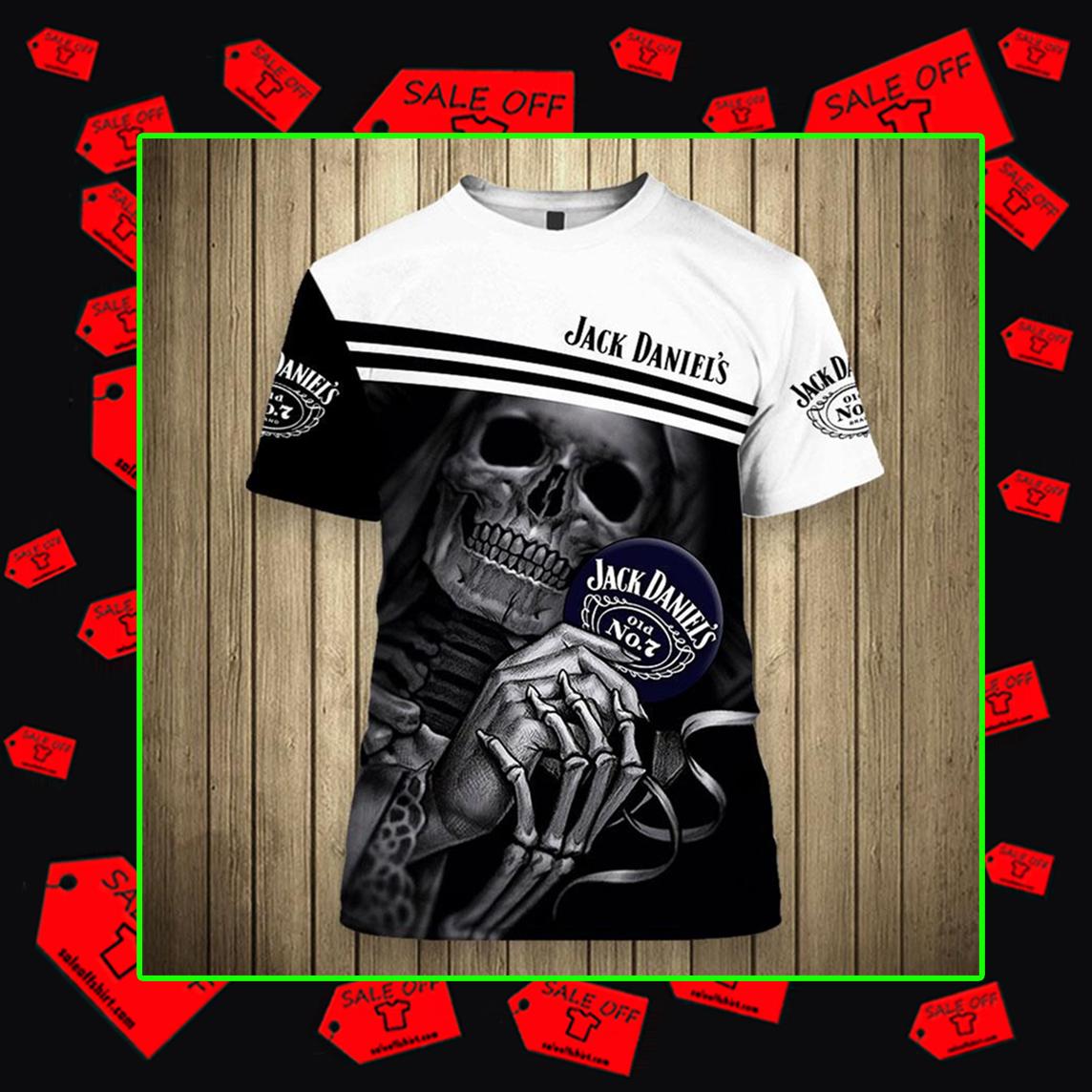 Skull Skeleton Jack Daniel's Hoodie 3D, T-shirt 3D, Zip Hoodie 3D - T-shirt 3D
