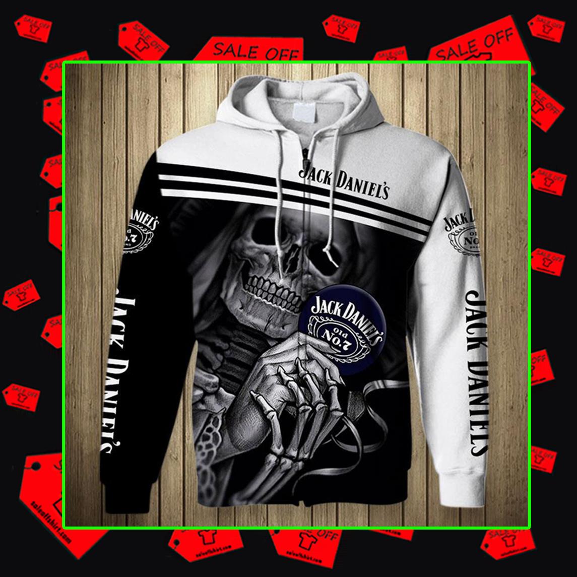 Skull Skeleton Jack Daniel's Hoodie 3D, T-shirt 3D, Zip Hoodie 3D - Zipped hoodie
