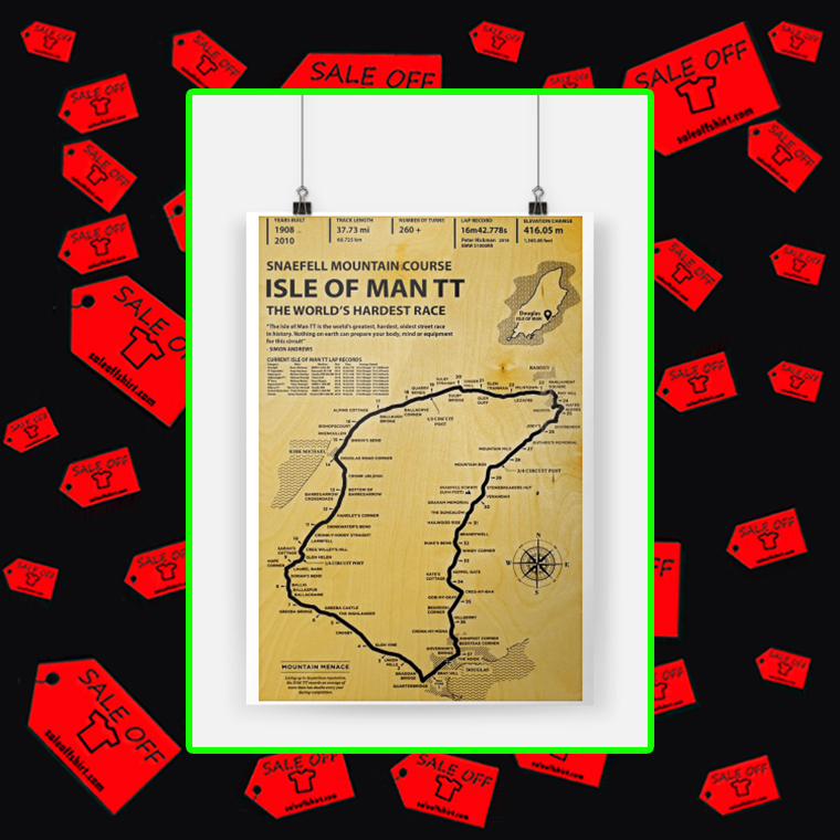 Snaefell Mountain Course Isle Of Man TT The World's Hardest Race Poster A2 (420x594mm)