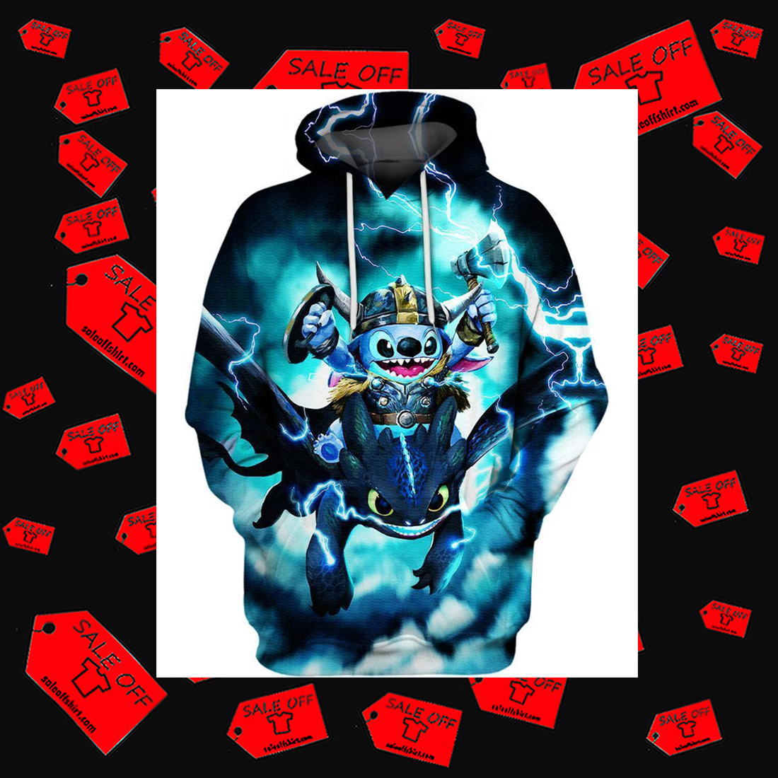 Stitch and Toothless Hoodie 3D