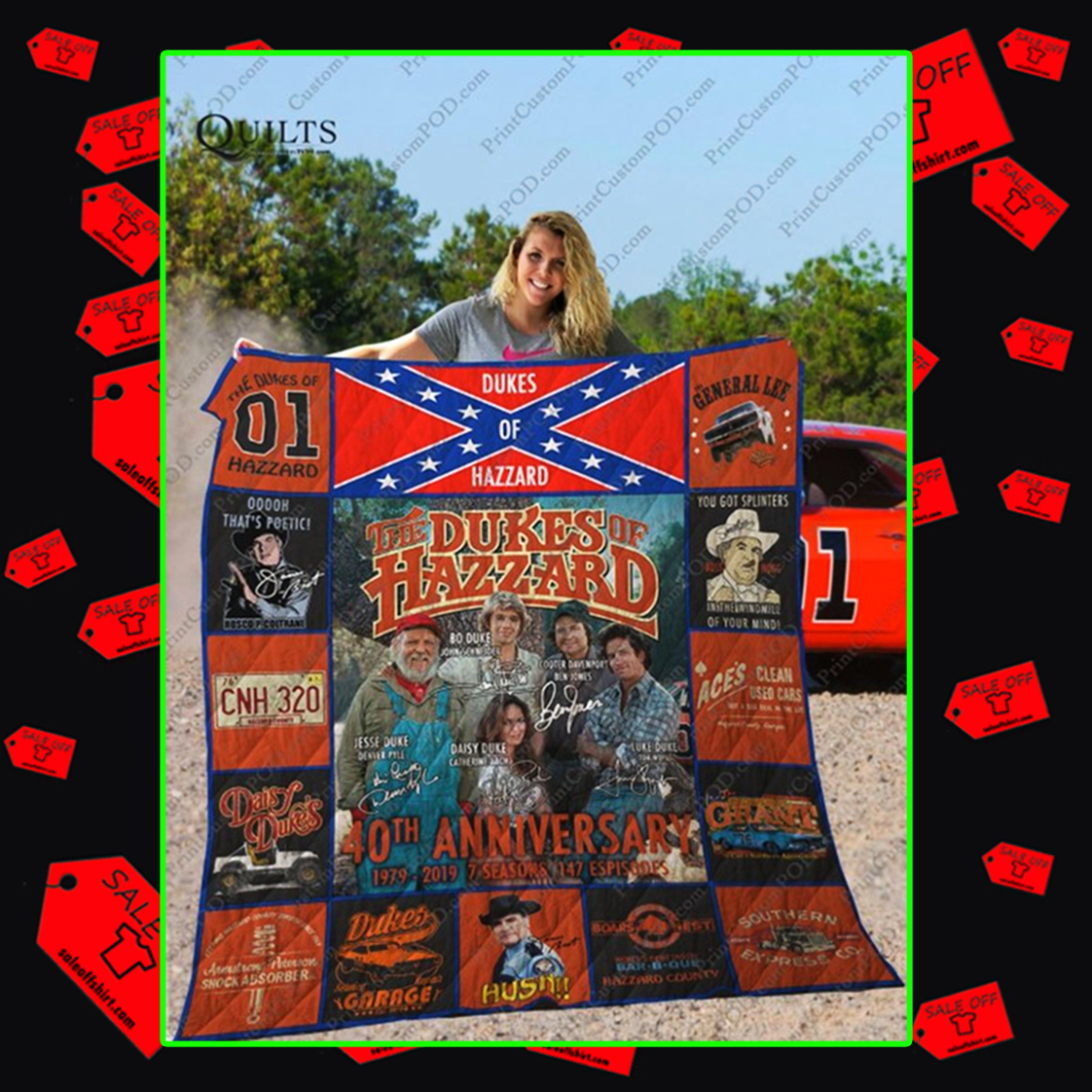 The Dukes of Hazzard 40th Anniversary Signature Quilt Blanket - queen (70x80 inches)