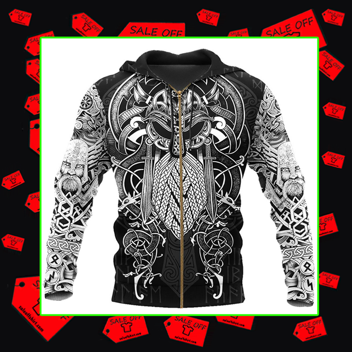Vikings Odin Zipped hoodie 3d
