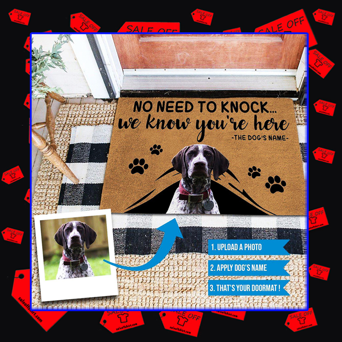 We Know You're Here Pet Name Personalized Doormat - picture 2