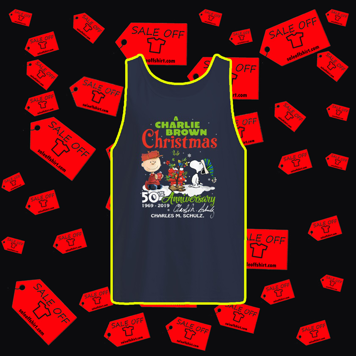 A Charlie Brown Christmas 50th Anniversary 1969 2019 Charles M. Schulz Signature tank top