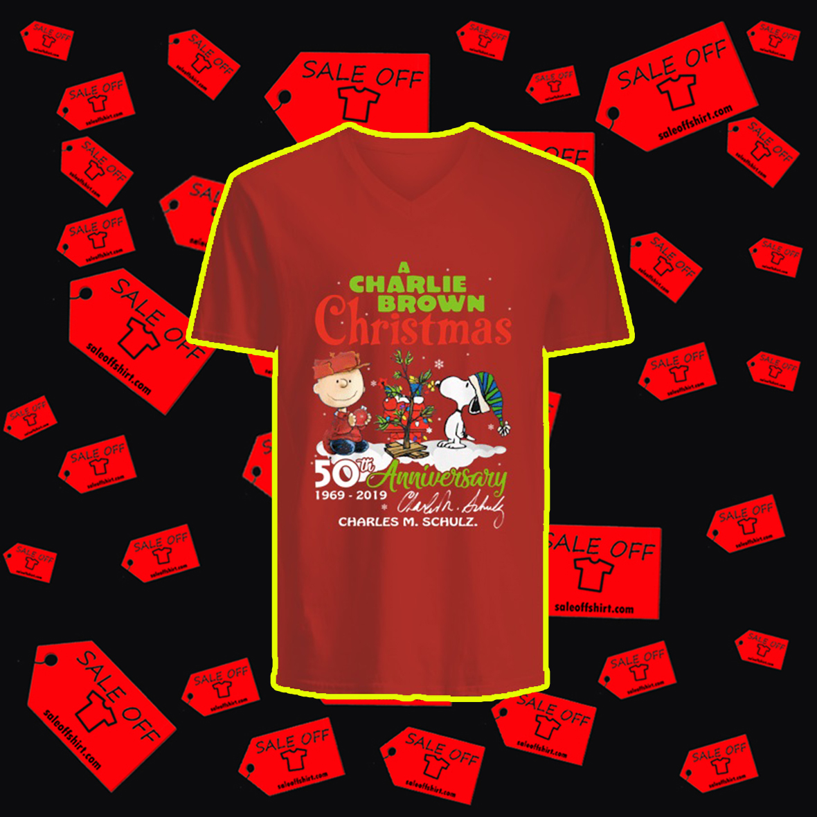 A Charlie Brown Christmas 50th Anniversary 1969 2019 Charles M. Schulz Signature v-neck