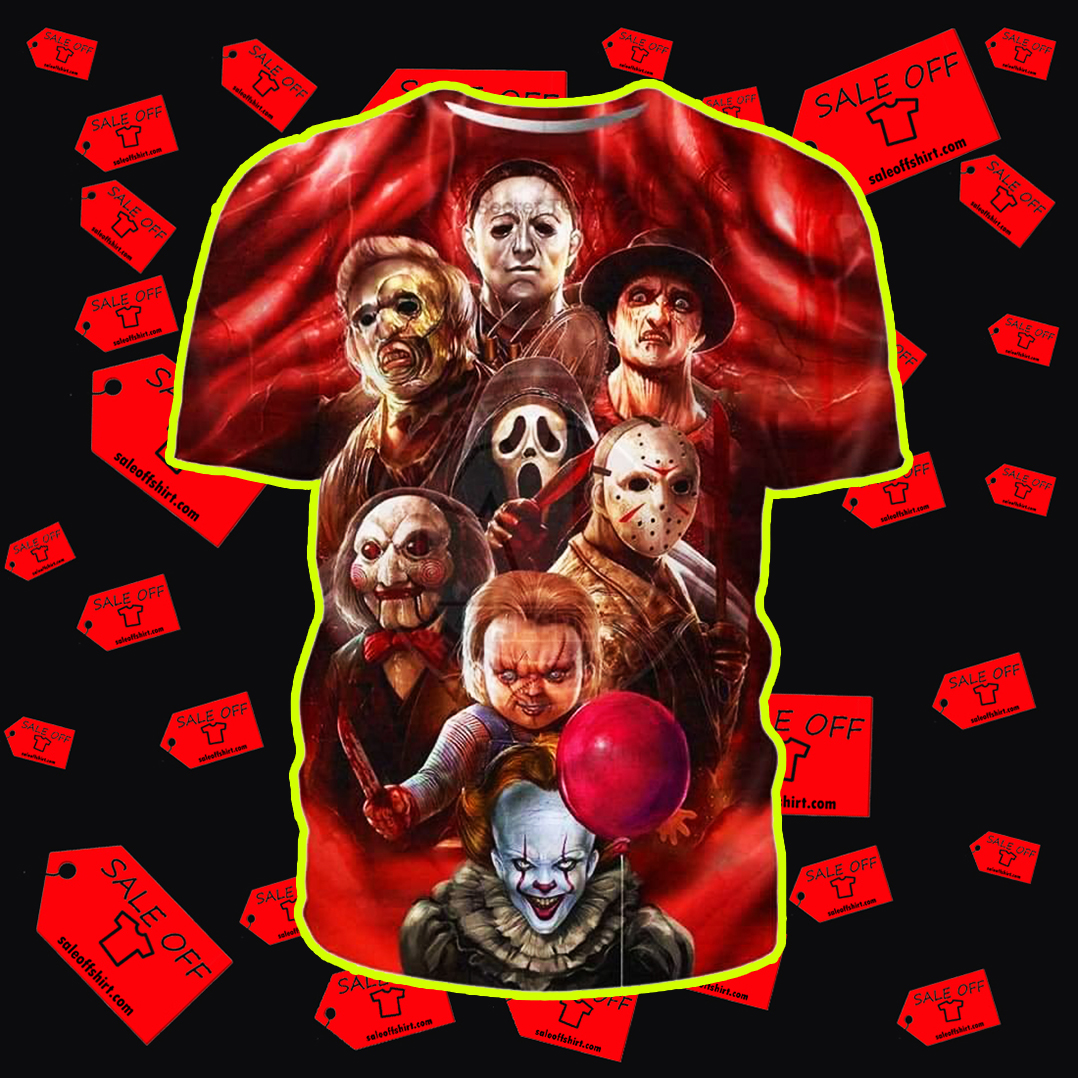 All Horror Characters Halloween 3D All Over T-shirt