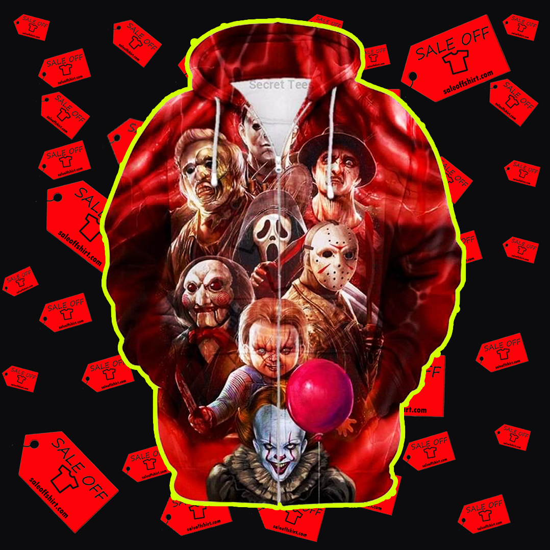 All Horror Characters Halloween 3D All Over Zip Hoodie