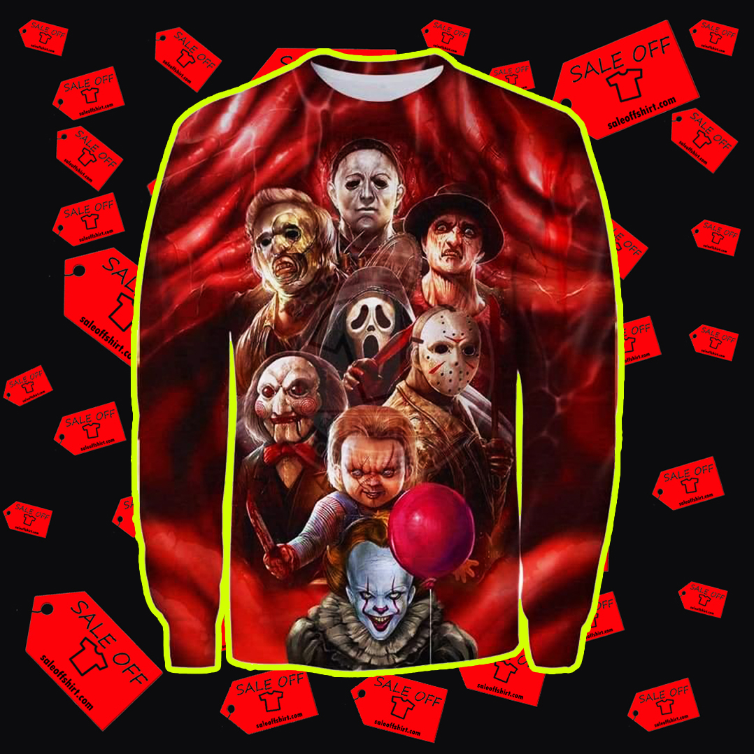 All Horror Characters Halloween 3D All Over sweatshirt