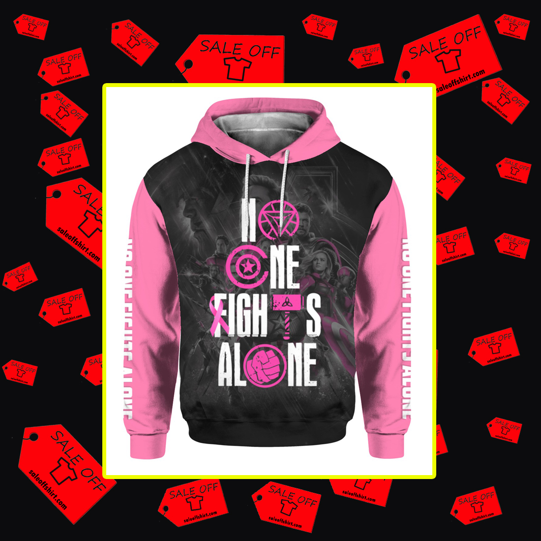 Avengers Endgame No one fights alone Breast cancer awareness 3d hoodie
