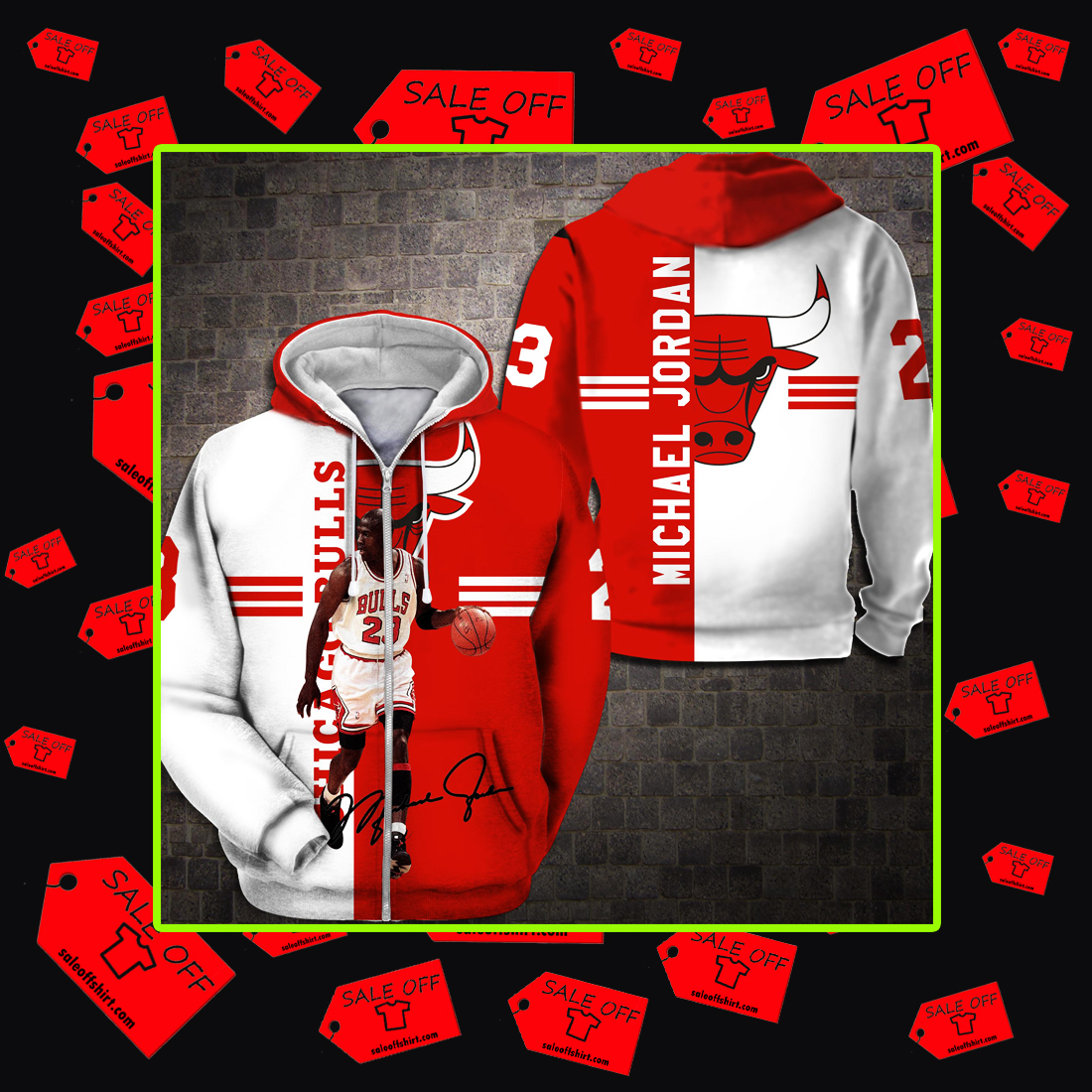 Chicago Bulls Michael Jordan Signature 3d Zip Hoodie