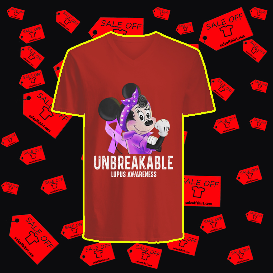Disney Minnie Unbreakable Lupus Awareness v-neck