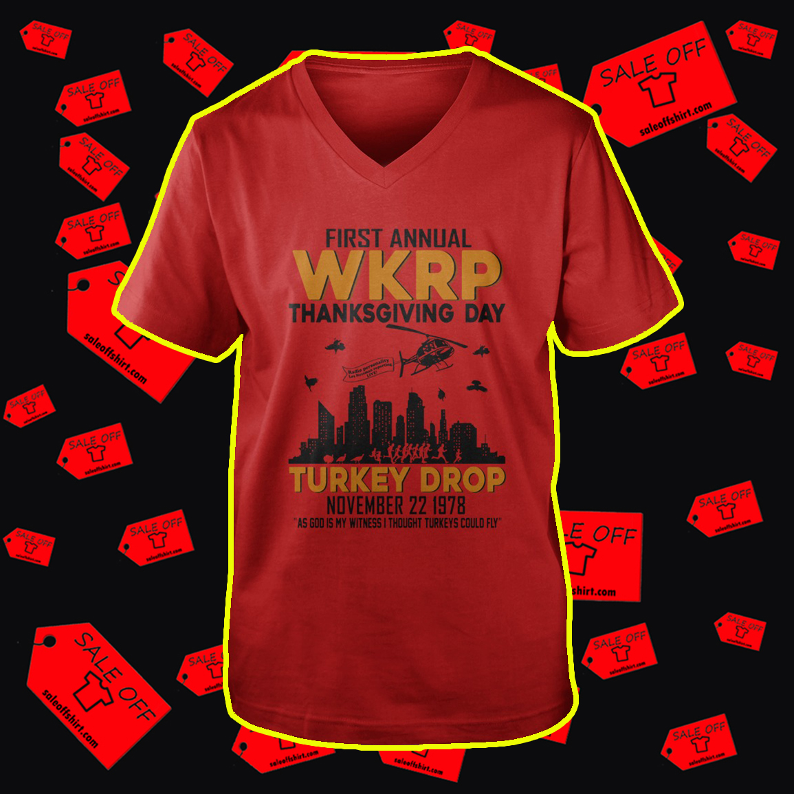 First annual WKRP thanksgiving day Turkey Drop v-neck