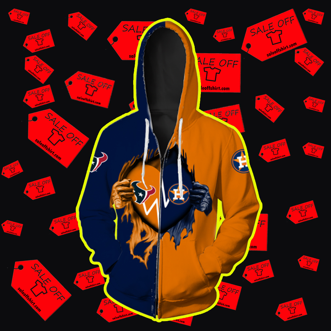 Houston Astros and Houston Texans Heart Inside Me All Over Print 3d Zip Hoodie