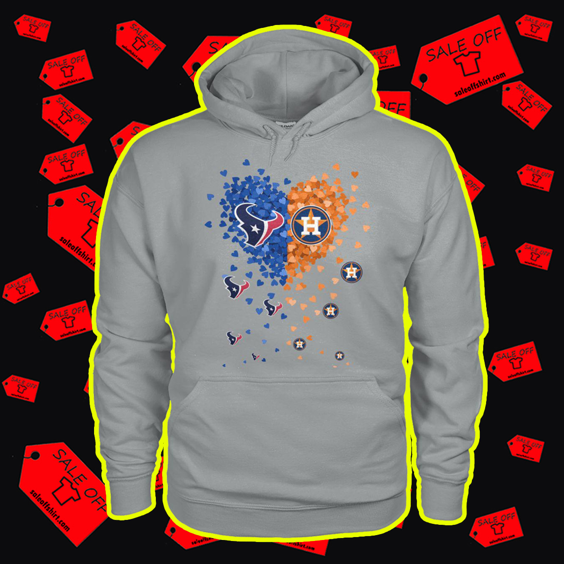 Houston Texans and Houston Astros heart hoodie