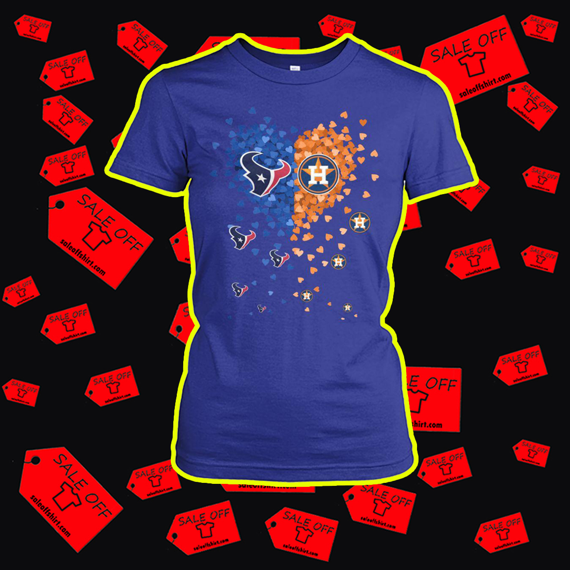 Houston Texans and Houston Astros heart lady shirt
