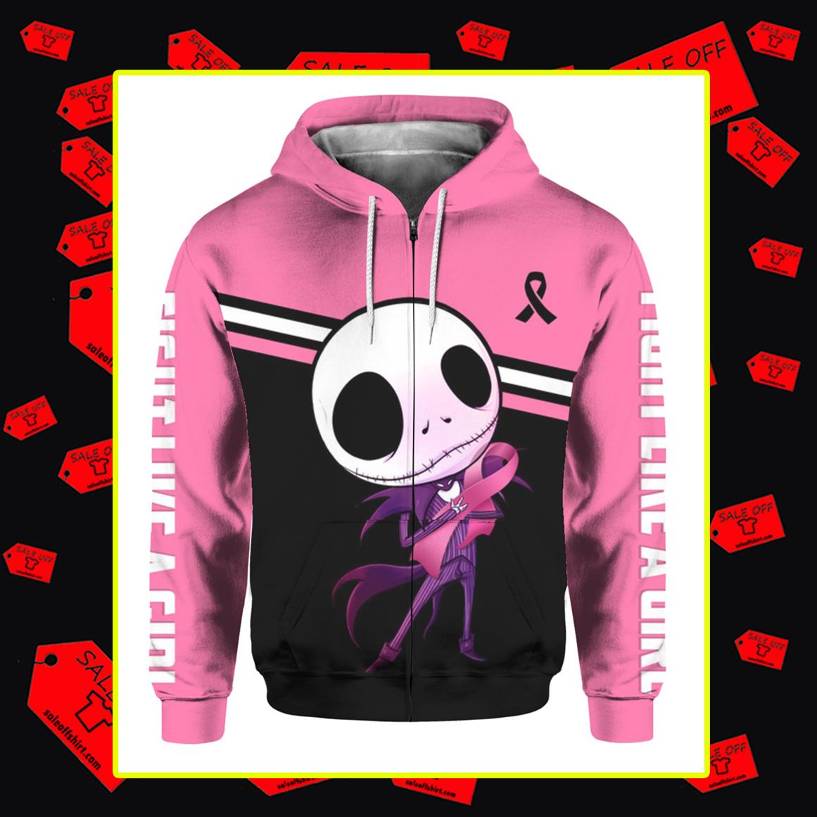 Jack Skellington Breast Cancer 3d zip hoodie
