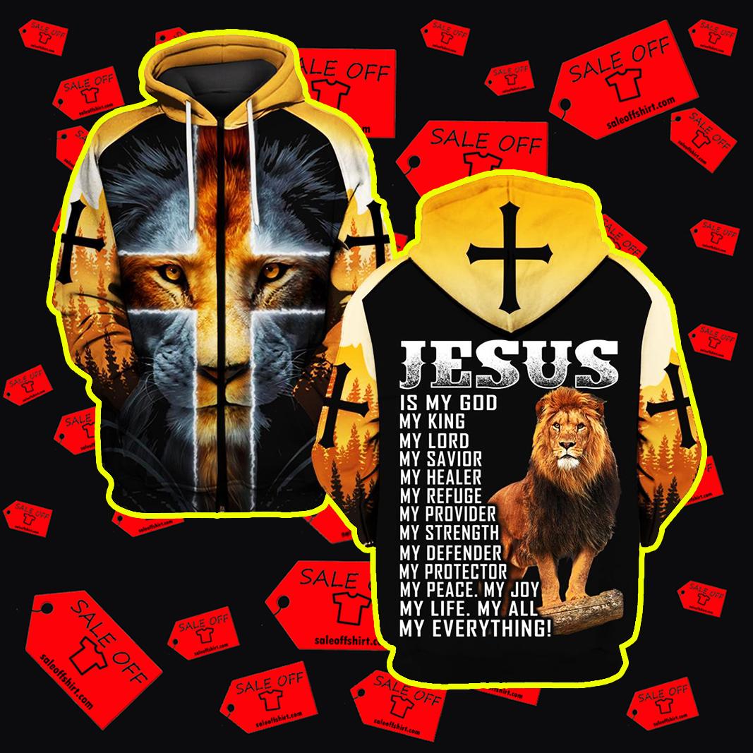 Jesus is my God Lion All Over Printed 3d zip hoodie