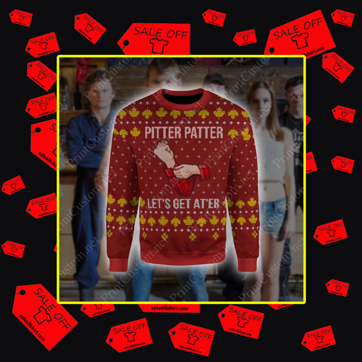 Letterkenny Pitter Patter Let's Get At 'er 3D Ugly Christmas Sweater - 2XL
