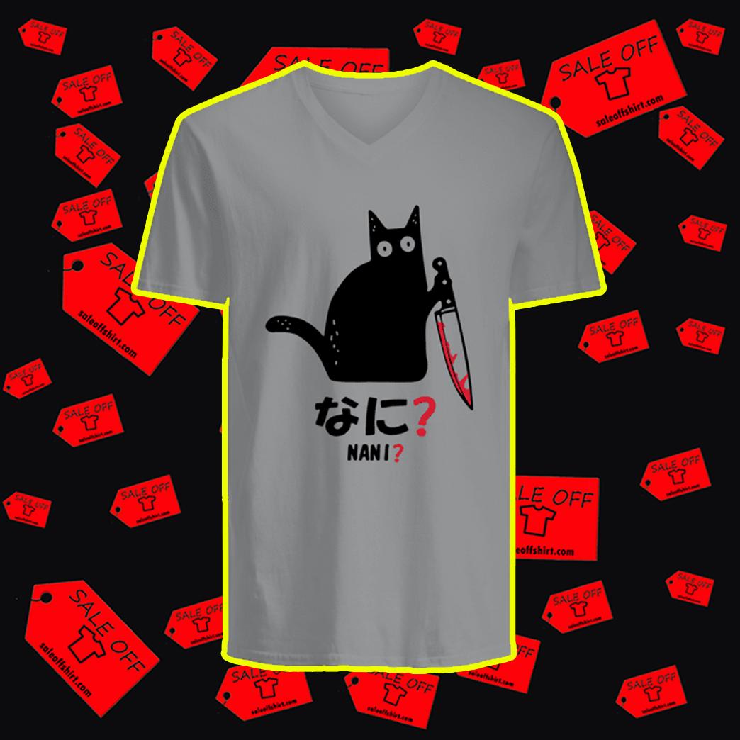 Murderous Black Cat Knife Nani v-neck