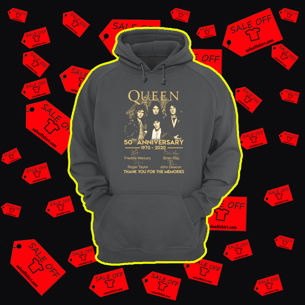 Queen 50th anniversary 1970 2020 thank you for the memories hoodie