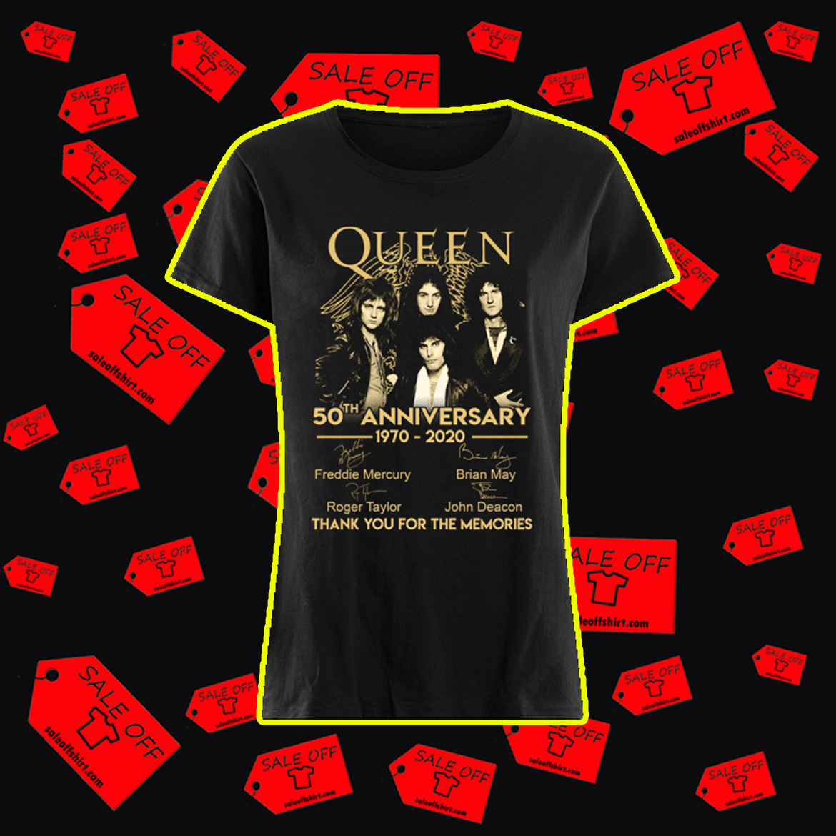 Queen 50th anniversary 1970 2020 thank you for the memories shirt