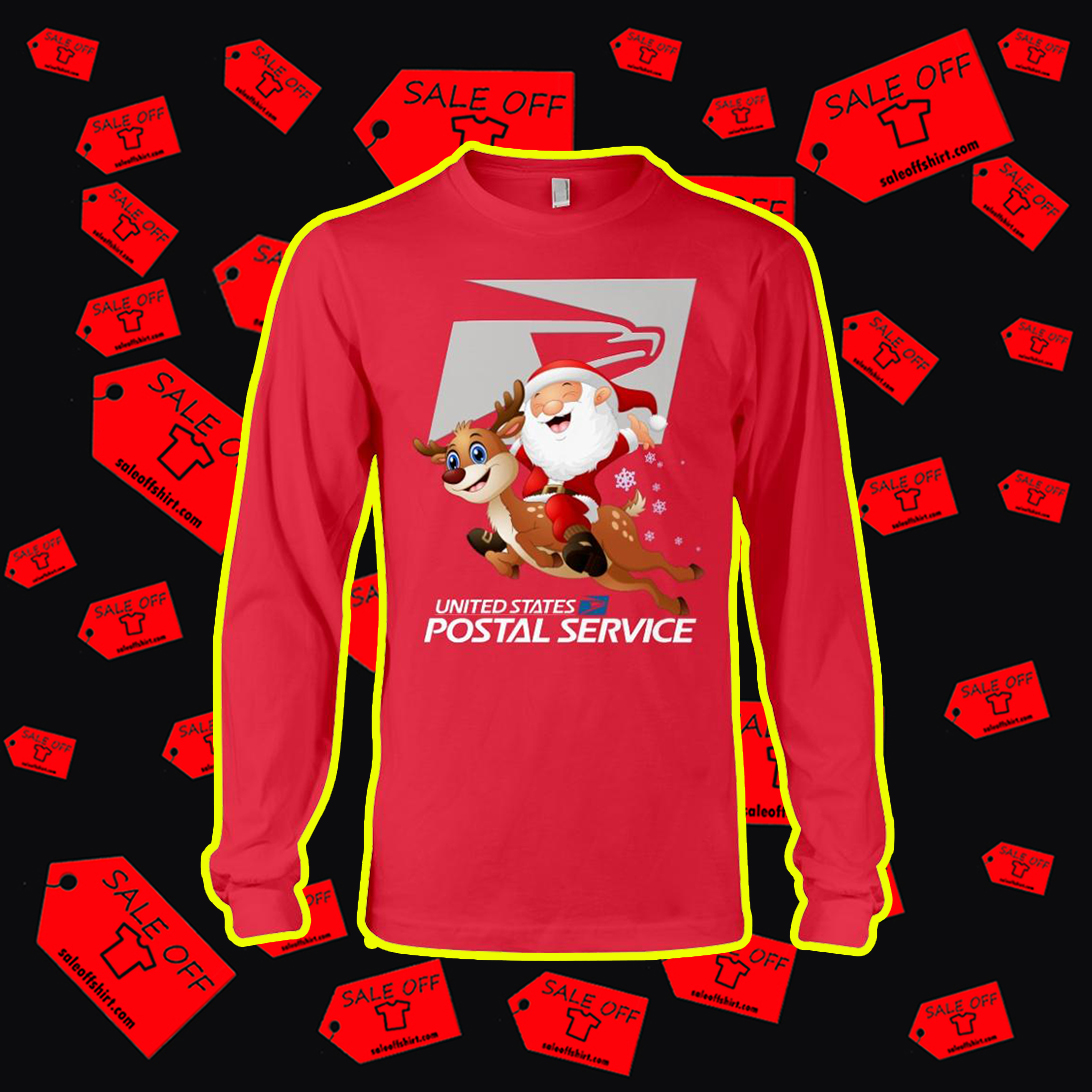 Santa riding reindeer United States Postal Service long sleeve tee