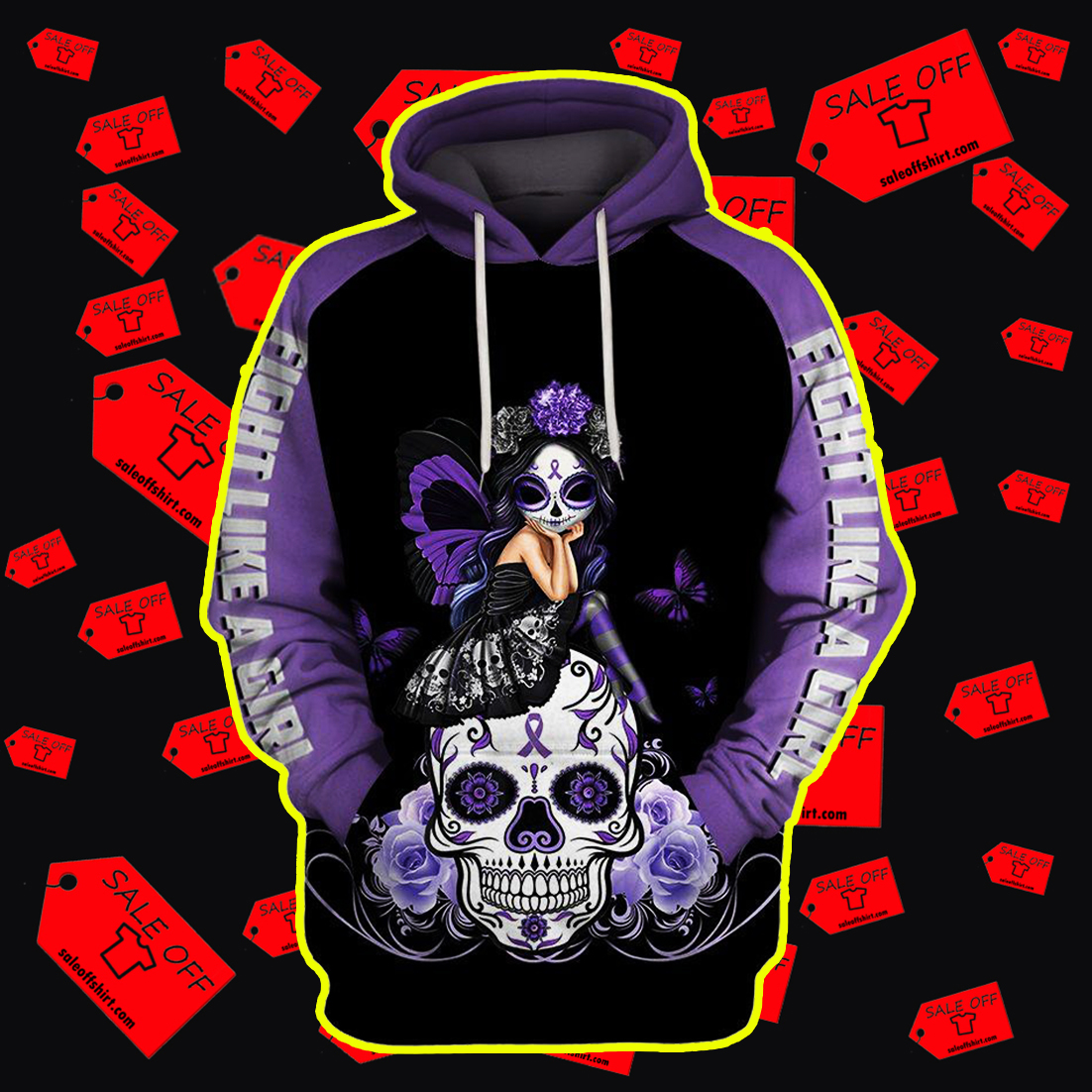 Skull purple ribbon warrior fight like a girl 3d hoodie
