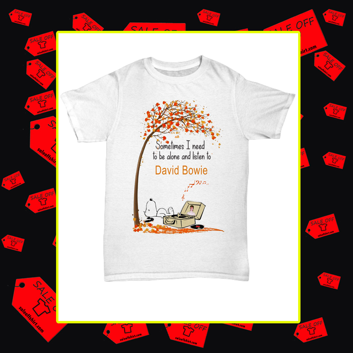 Snoopy sometimes I need to be alone and listen to David Bowie shirt