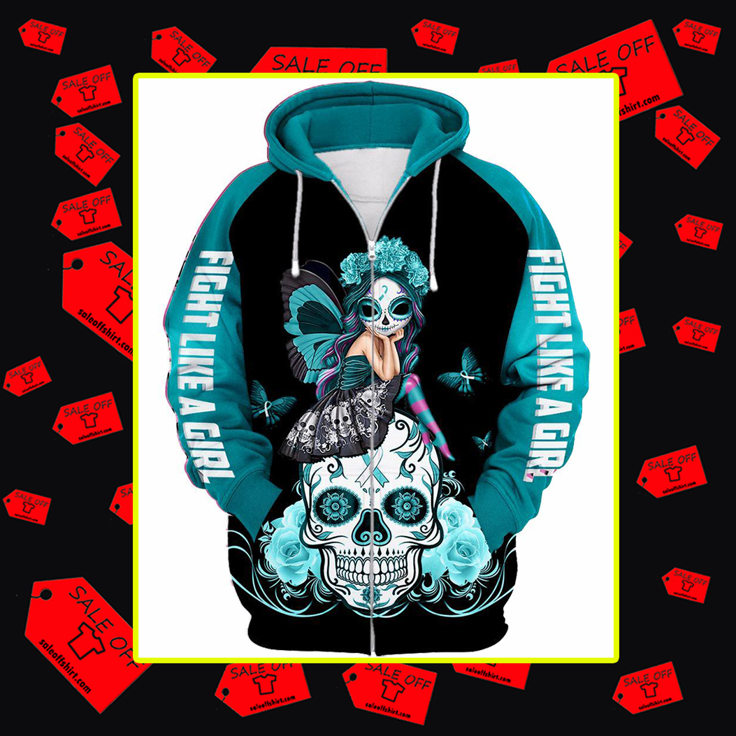Various Color Awareness Ribbons Skull Fight Like A Girl 3d zip hoodie