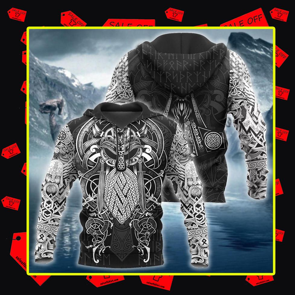 Vikings Odin Tattoo 3d hoodie