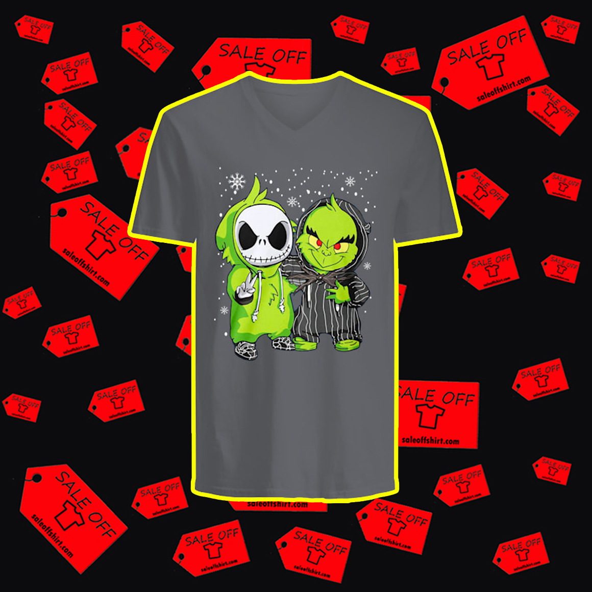 Baby Jack Skellington and Grinch Snow Christmas v-neck
