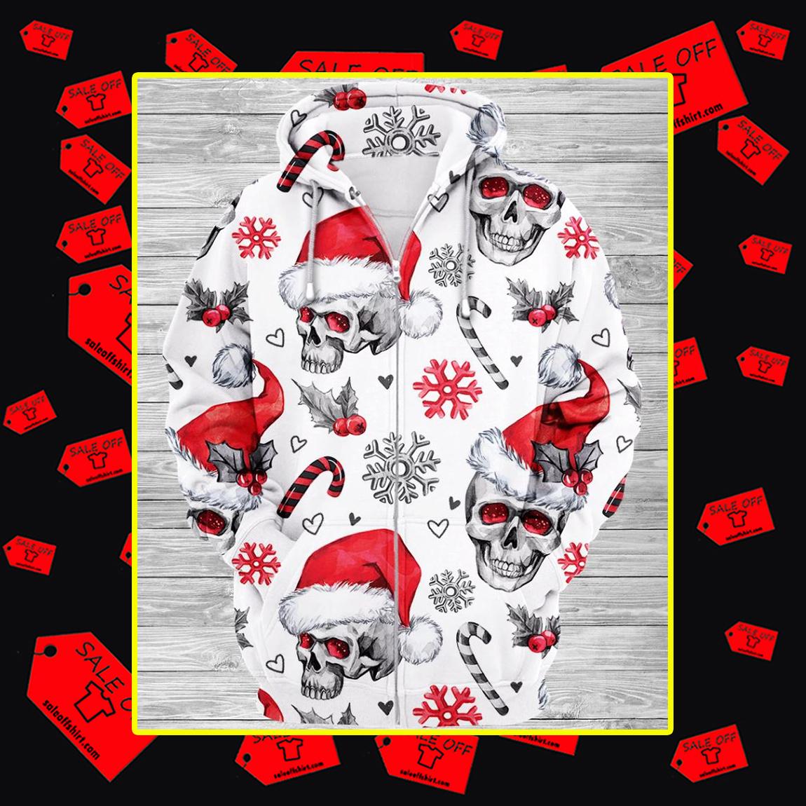 Christmas Skull 3d Zip Hoodie