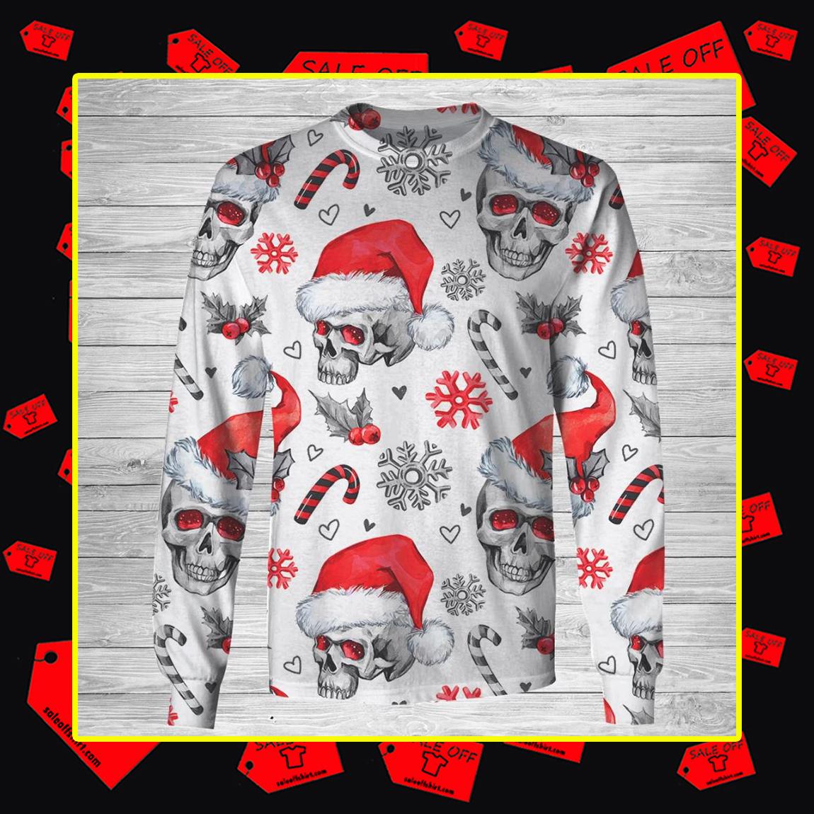 Christmas Skull 3d longsleeve tee