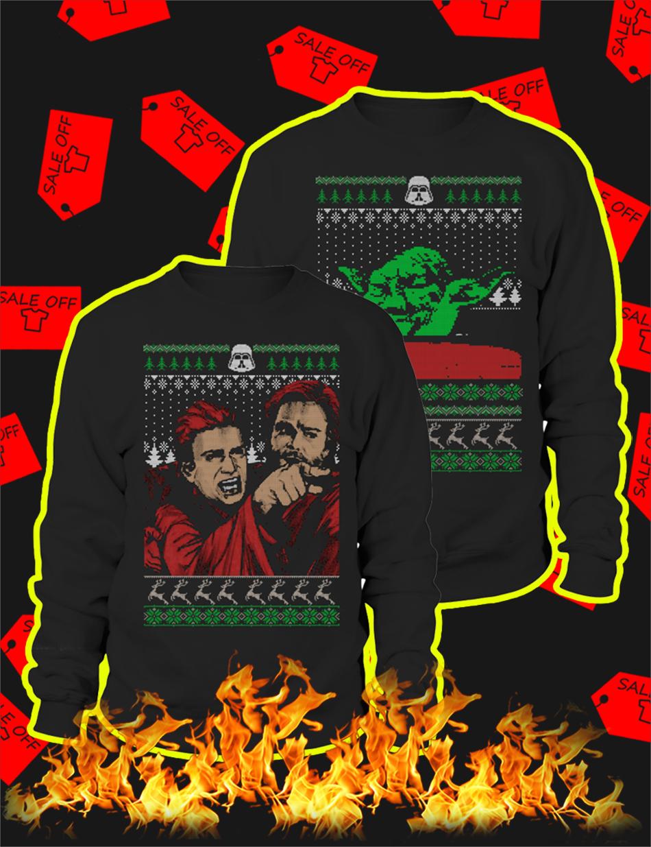 Couple Angry Anakin Yelling At Yoda Ugly Christmas Sweater-black